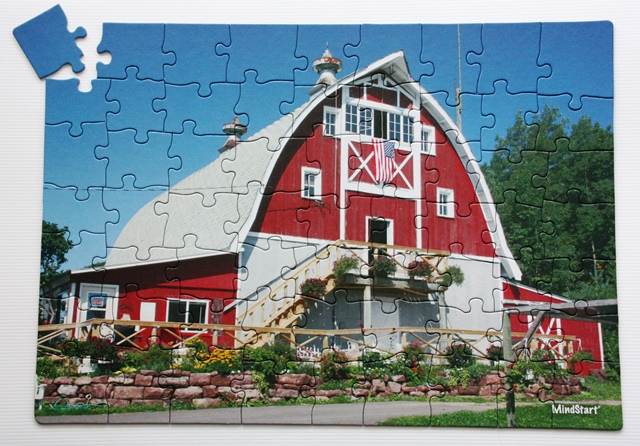 large piece barn puzzle for seniors
