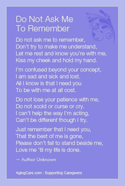 dementia patient's message to caregivers